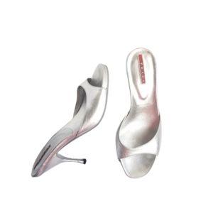 Prada silver heel open toe Sandals